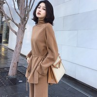 Autumn Women Sweater Set Wool Cashmere Wide Leg Pants Suit 2 Piece Set Women Turtleneck Top Bandage Women Suit