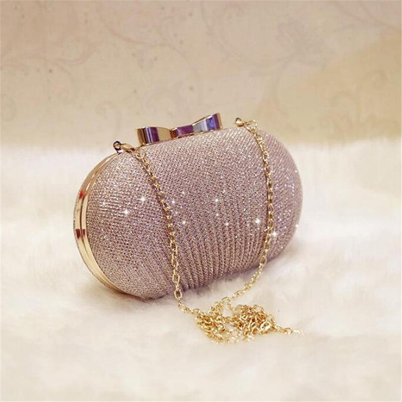 Golden Evening Clutch Bag Women Bags Wedding Shiny Handbags Bridal Metal Bow Clutches Bag Chain Shoulder Bag Fashion