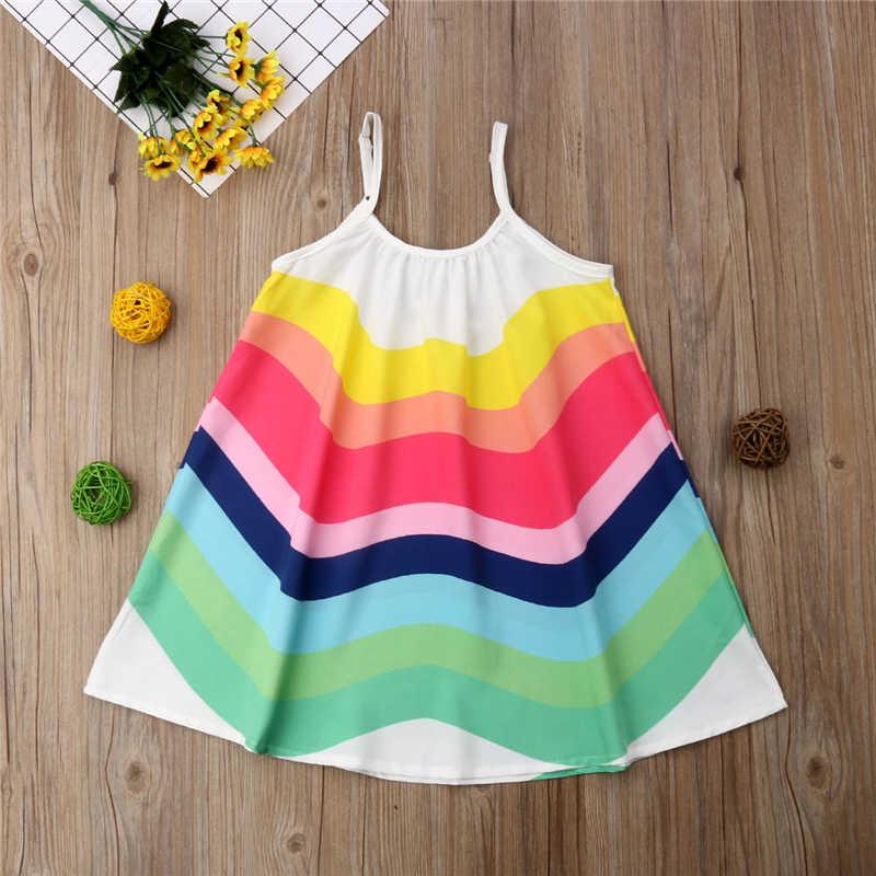 Vestido de princesa hasta la rodilla del verano del bebé del vestido de las muchachas del arco iris sin mangas del cabestrillo de la playa vestidos de los niños para las niñas 1 -6 años