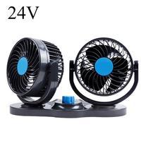 Car Fan 12V24V Big Truck Double Head 360 Rotating USB Electric Fan Mini Desk Fan