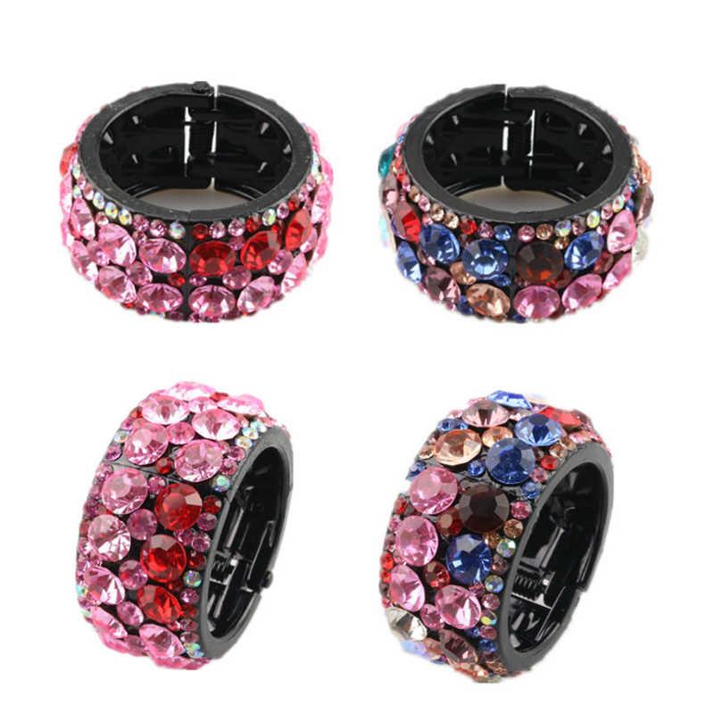 Круглые пластиковые кольца для волос «конский хвост», 1 шт., 6 цветов, круглые большие пряжки, 2019, маленькие заколки для волос с кристаллами