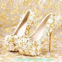 Золотистые туфли с украшением в виде кристаллов, свадебные туфли на очень высоком каблуке с цветочным принтом, женские туфли, непромокаемые