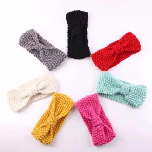เด็กทารกน่ารัก Turban หูอุ่น Crochet Headband ถัก Headwrap