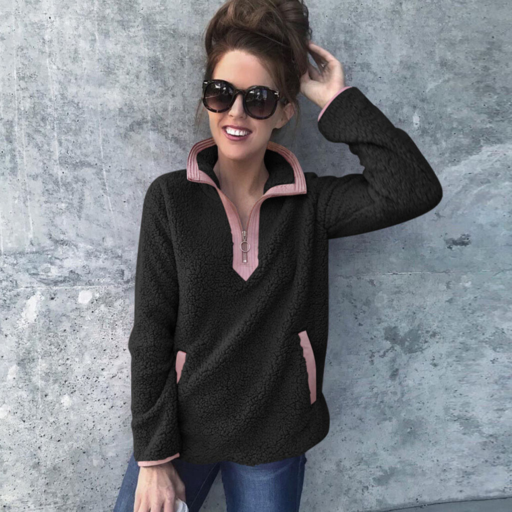 Women Winter Plush Patchwork Zipper High Neck Sweatshirts Tops Casual Long Sleeve Fluffy Pullover Shirt