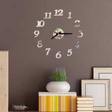 Hot Sales Mirror Acrylic Diy Wall Clocks Digital Living Room Stickers Modern Style Sticker Needle Quartz Watches