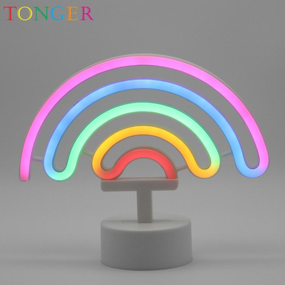 TONGER Rainbow Table LED Neon Light Sign Neon Lamp for kids room decoration