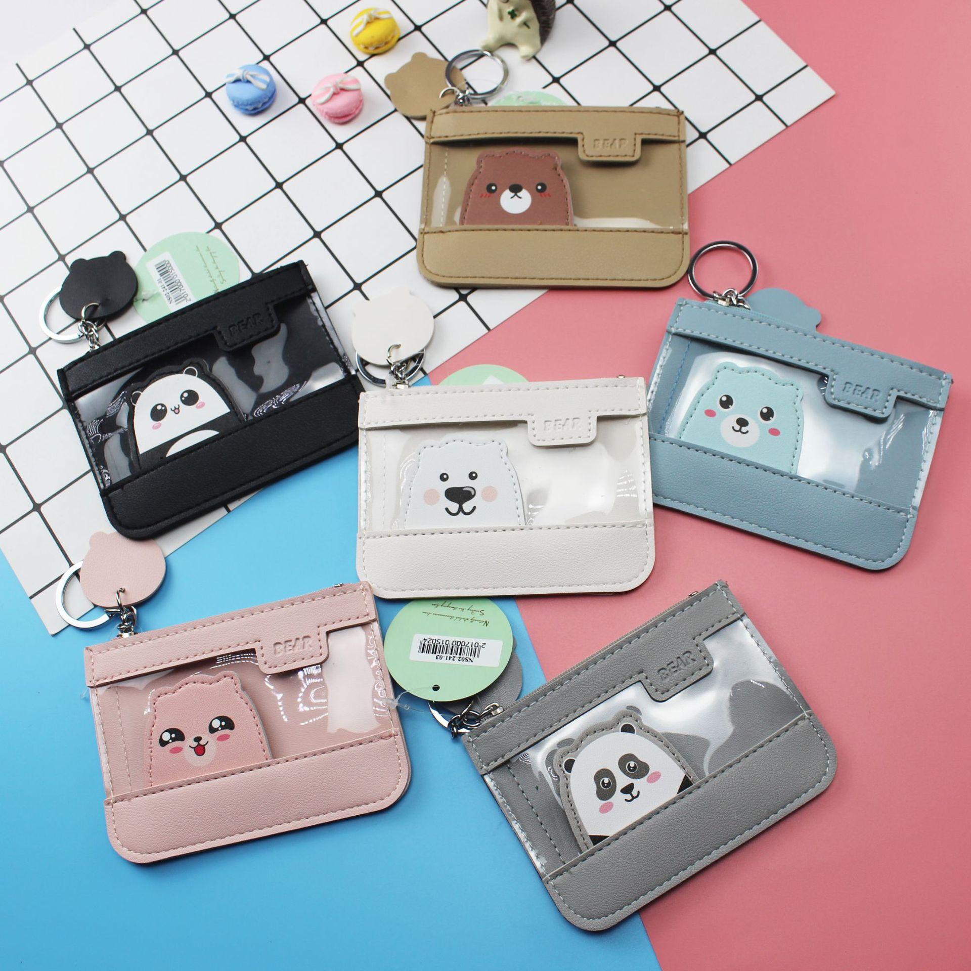 New Cartoon Bear Cat Coin Purse Splicing Gelatin Card Bag Coin Bag Student Creative Animal Storage Bag Dropshipping
