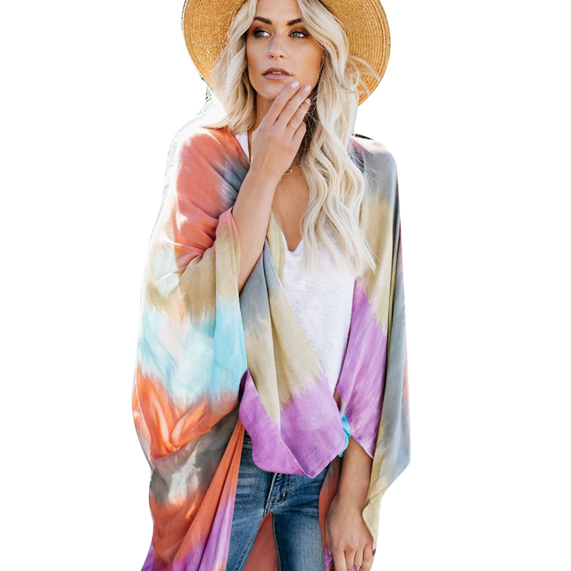 f6362896271 Beach Cover Outwear Women Boho Long Sleeve Open Front Cardigan Wide Loose Cover  Up Colorful Print Shawl Coat Tops Outwear