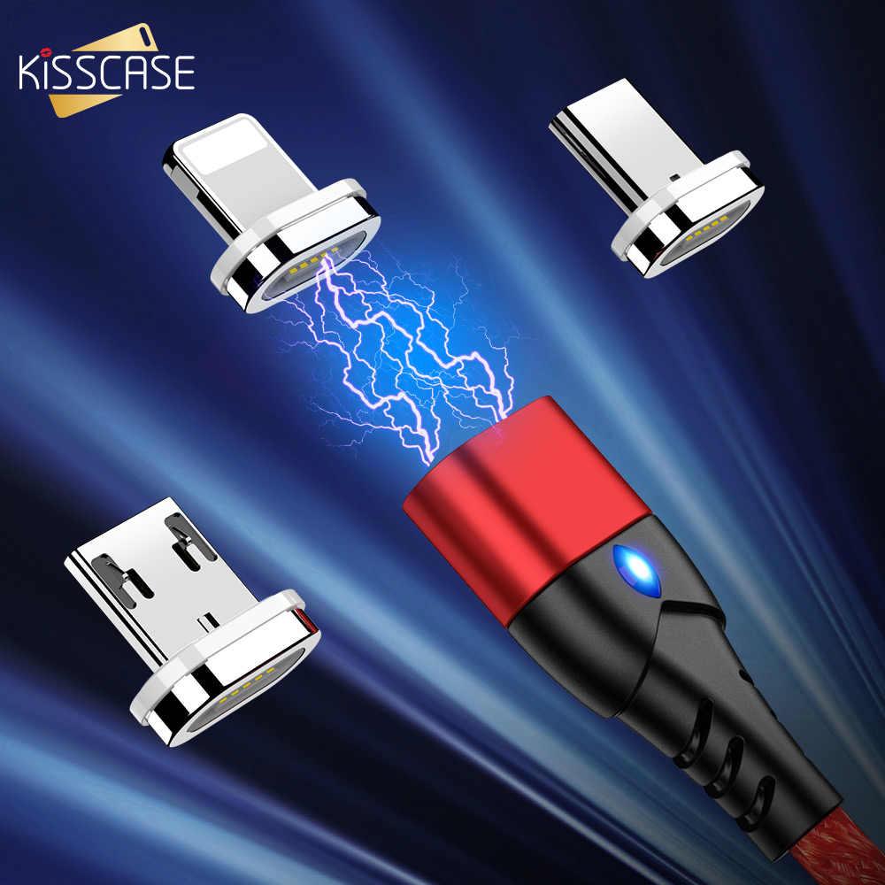 KISSCASE كابل مغناطيسي المصغّر USB نوع C محول الشحن السريع الهاتف مايكرو نوع-C المغناطيس شاحن USB C آيفون أندرويد