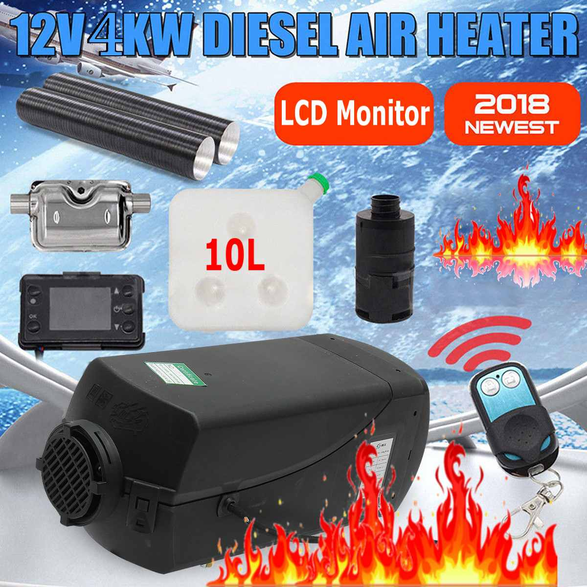 Knob Switch M2 12V 5KW Air Diesel Fuel Heater For Trucks Boats Bus W// 10L Tank