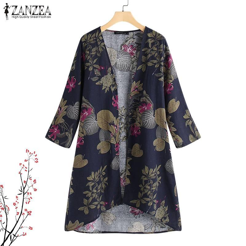 Tops Blouses ZANZEA Women Shirt Plus Size Ladies Casual Work Blusas Cardigan Vintage Floral Print Chemise Women Clothing S 5XL