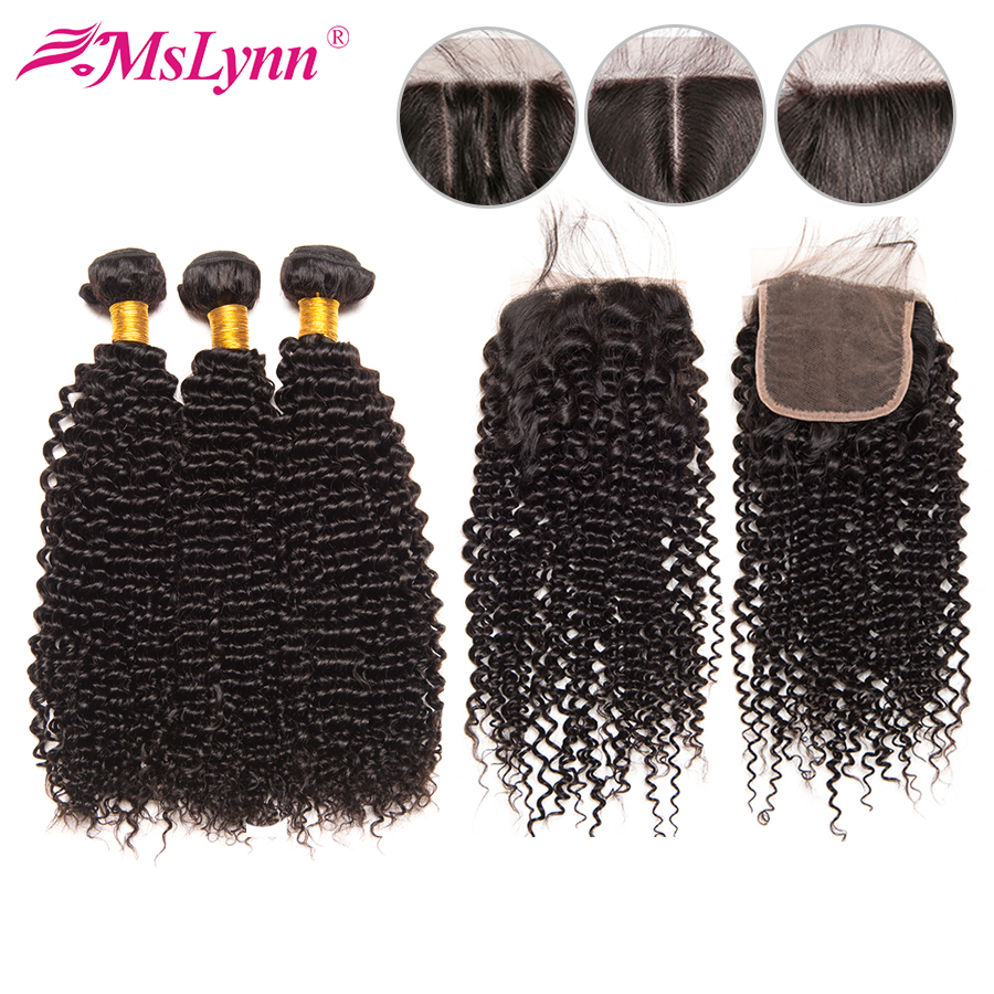 Mslynn Human Hair Bundles With Closure Peruvian Afro Kinky Curly Hair 3 Bundles With Closure 4