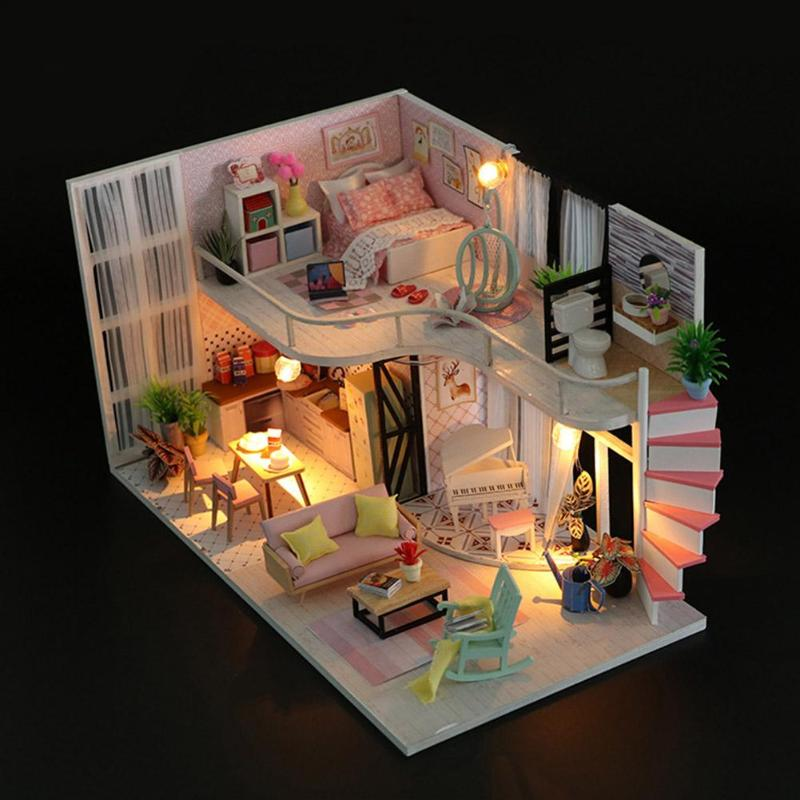 New Doll House Toy Miniature Wooden Doll House Loft With: DIY Assembly Dolls House Model Kids Children Wooden