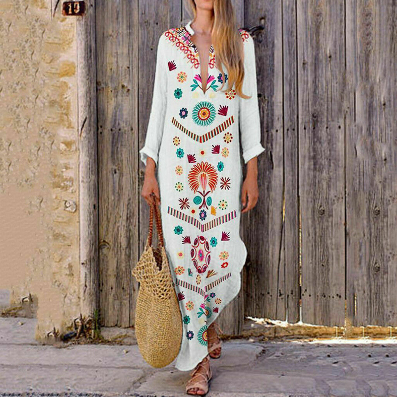 Dress Women's Kaftan Long Sleeve Dress Plus Size Maxi Long Shirt Dresses Women Woman Bohemian Kaftan Tunic Dresses Vestidos