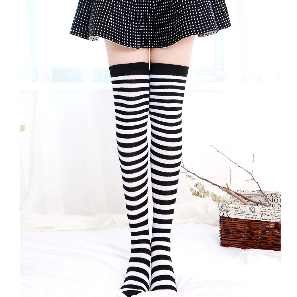 Ms Christmas Stockings 2018 Autumn Winter Socks Red Green Stripe Elf Over The Knee Socks Xmas Fancy Dress Stockings Christmas