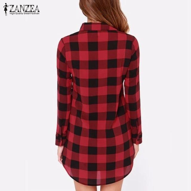Zanzea 2020 Women  Plaid Blouses Shirts Turn-down Collar Single Breasted Plus Size S-6XL