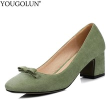 YOUGOLUN Women Pumps Spring Elegant Lady Thick Heel Fashion Woman Black Pink Purple Gray Green Square Toe Mid Party Heels A036