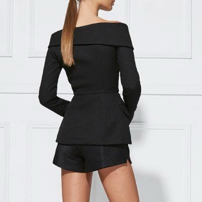 Spring 2019 New Women Suit With A Thin Body A Small Suit Coat Sexy Shoulder Lapel Long Sleeved Jacket Fashion OL Commute Black