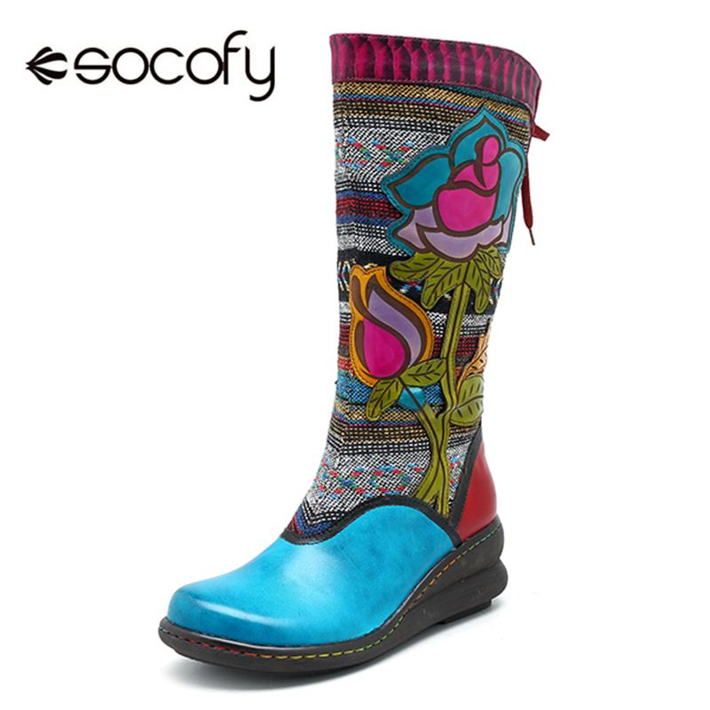 Socofy الرجعية بوط من الجلد الطبيعي المرأة أحذية امرأة خمر البوهيمي زيبر منتصف العجل الأحذية إسفين كعب السيدات الشتاء أحذية بوتاس-في أحذية منتصف ربلة الساق من أحذية على  مجموعة 1