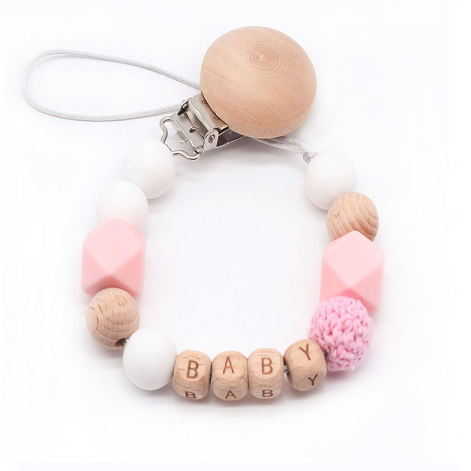 Personalized Name Silicone Pacifier Clip Binky Clip Dummy Clip Soother Teethe Toy Chain Bite Beads Fit Baby Girl Boy Chew Gift