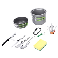 ABGZ Outdoor Camping Cookware Pots Pans Camping Cookware Picnic Cooking Set Non Stick Tableware With Foldable Spoon Fork Knife