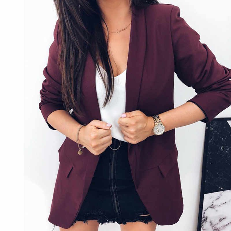 Fashion Autumn Women Blazers Jackets Work Office Lady Suit Slim None Button  Business Female Blazer Coat 07872c00fc