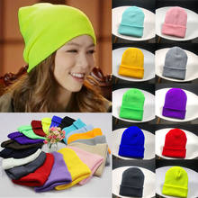 c567fa60b92f7 Men Women Wind Knitted Woolly Winter Slouch Beanie Skateboard Hat Plain  Color Ladies Cap(China