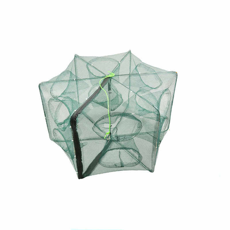Hexagonal Folding Fishing Net 6/8/10/12/16 Fishing Trap Holes Cast Folding Strengthened Nylon Fishing Network Cages Mesh Cheap