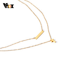 Vnox Chic Layered Cross Heart Charm Choker for Women Simulated Pearl Stainless Steel Temperament Female Party Holiday Jewlery(China)
