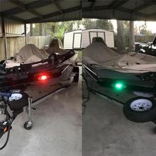 1 Pair 12V LED Navigation Light Red+Green Flush Mount Marine Boat RV LED Side Navigation Lights Waterproof Sailing Signal Light