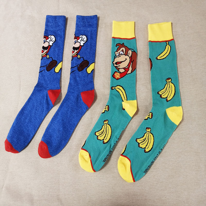 Men Socks Funny Cartoon Monkey Mario Fashion Happy Harajuku Hip Hop Street Wear Man Personality Male Casual Cotton Socks Winter