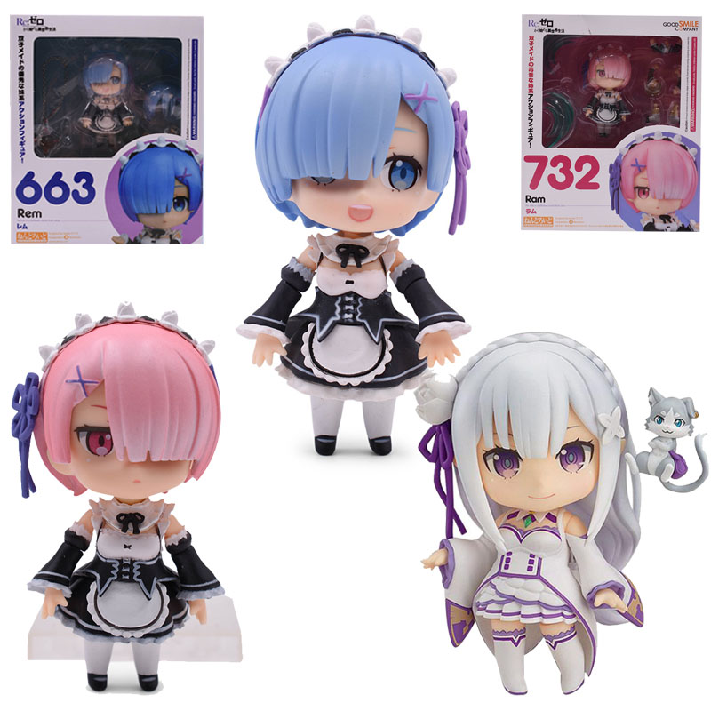 10cm Q Version Rem 663 Anime Ram 732 Re Life In A Different World From Zero 751 Figure Emilia Action Figure Collection Model Toy