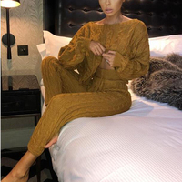 Winter Twist Knitted 2 Piece Set Women Long Sleeve Round Neck Pullover Sweater Pencil Pants Set Lady Runway Knitting Lounge Suit