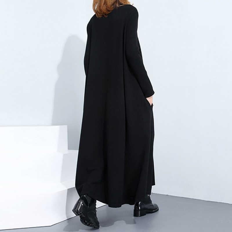 Готический женский длинный рукав длинное платье макси мешковатое свободное расклешенное черное платье панк