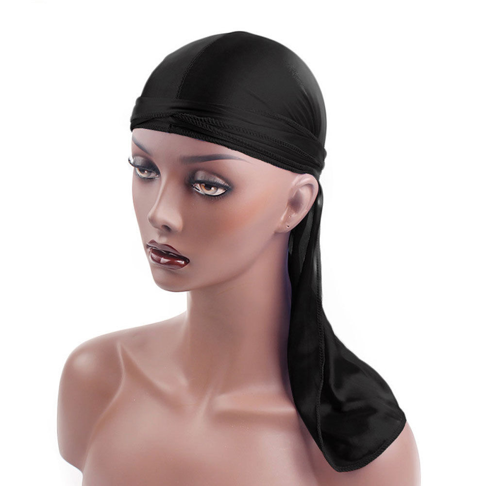 Hot sale New <font><b>Silk</b></font> Fabric <font><b>men</b></font> Streched Cap Hip Hop Pirate Bandanas Du Doo Rag <font><b>Durag</b></font> Solid Color Hat Tie Down tail for women <font><b>men</b></font> image