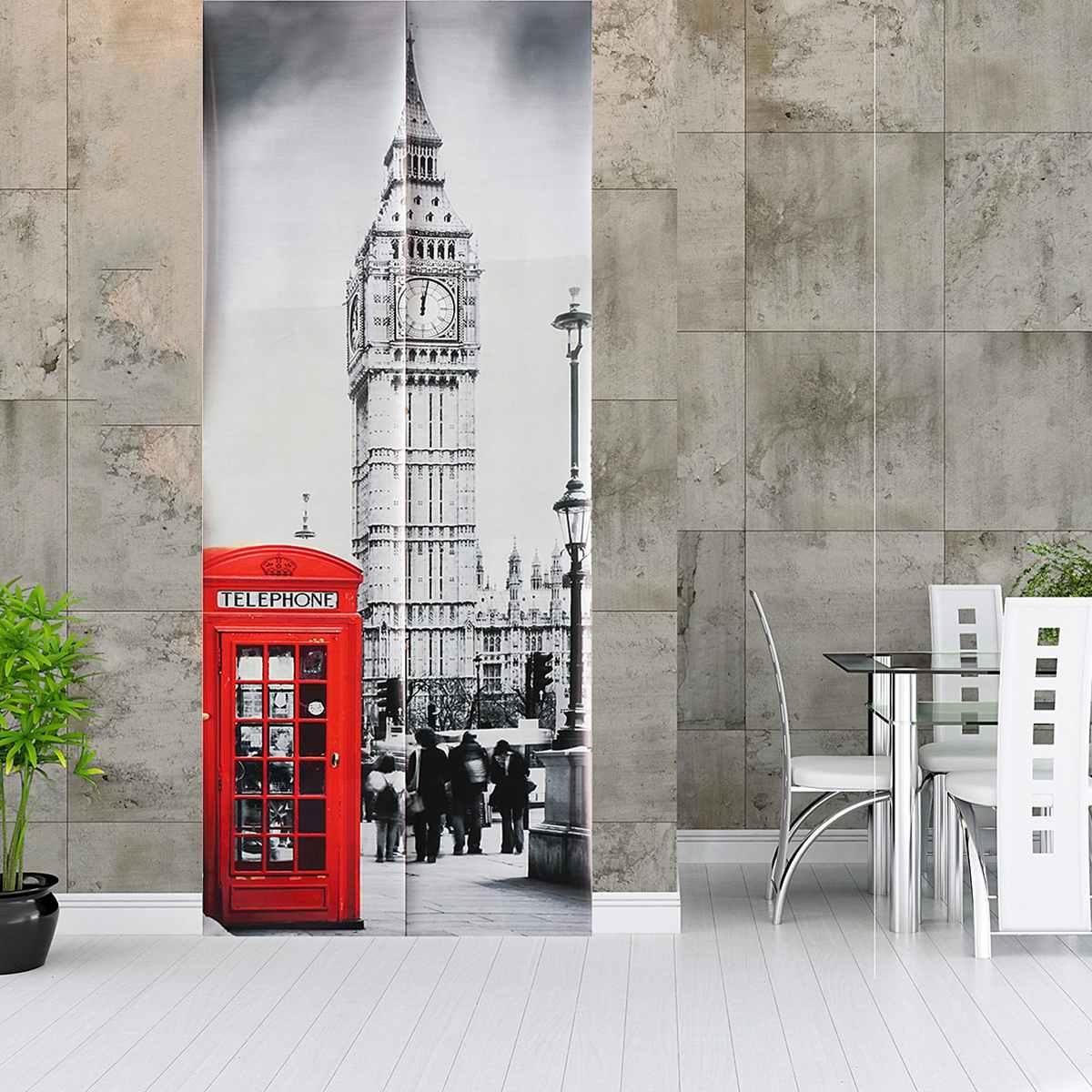 2pcs/set 3d Door Sticker Big Ben Telephone Booth 3d Art Door Wall Fridge Sticker Decal Self Adhesive Mural Home Decor Paste Home Decor