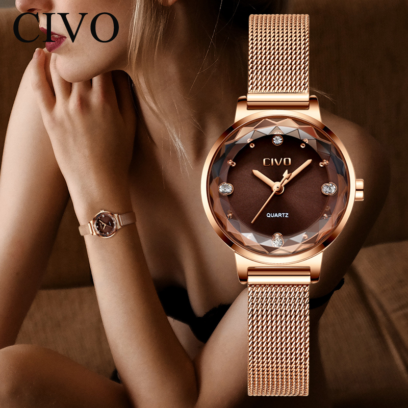 CIVO Luxury Brand Women Dress Watch Fashion Crystal Lady Watches Waterproof Steel Mesh Quartz Wrist Watches Relogio FemininoCIVO Luxury Brand Women Dress Watch Fashion Crystal Lady Watches Waterproof Steel Mesh Quartz Wrist Watches Relogio Feminino