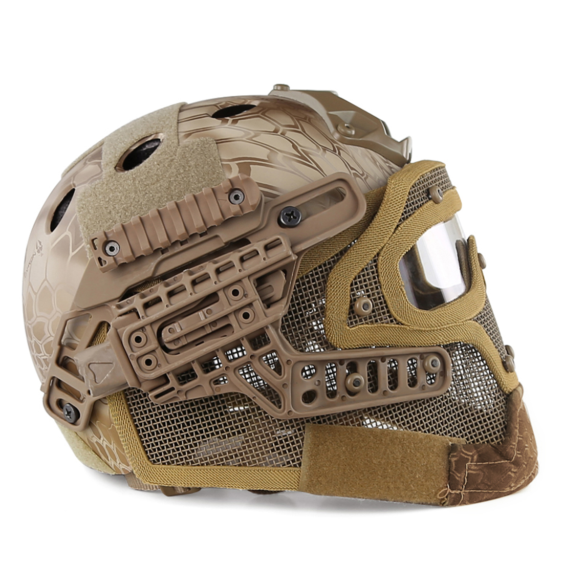 WST acier fil de protection rapide Paintball masque casque costume pour activité de plein air Paintball accessoires-désert Python Grain - 6