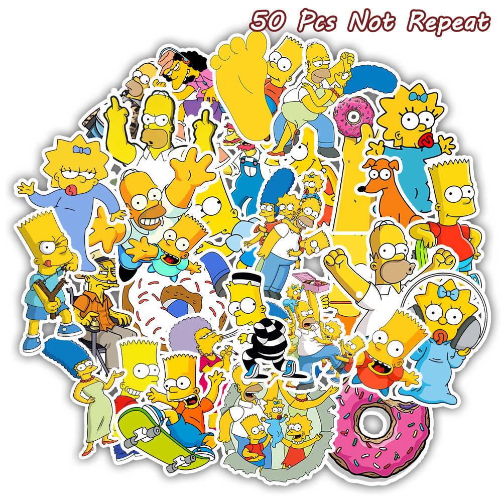 50PCS Cartoon The Simpsons Stickers For DIY Laptop Luggage Car Decor Anime Sticker to Skateboard Phone Fridge Toy Stickers50PCS Cartoon The Simpsons Stickers For DIY Laptop Luggage Car Decor Anime Sticker to Skateboard Phone Fridge Toy Stickers