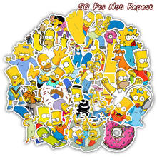 50PCS Cartoon The Simpsons Stickers For DIY Laptop Luggage Car Decor Anime Sticker to Skateboard font