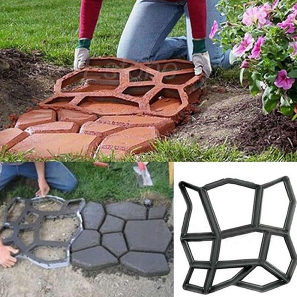 Fashion Garden Pavement Mold Garden Walk Pavement Concrete Mould DIY Manually Paving Cement Brick Stone Road Concrete Molds Pa