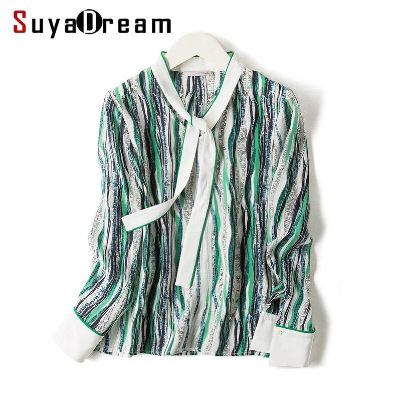 Women Silk Blouse 100 REAL SILK Crepe Stripe Printed Long Sleeved Blouses for Women 2019 Spring