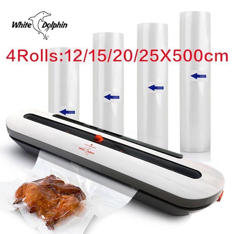 Dauphin blanc sous vide Machine d'emballage avec 4 rouleaux alimentaire économiseur sacs 12 15 20 25x500 CM cuisine sous vide alimentaire scellant 220 V 110 V