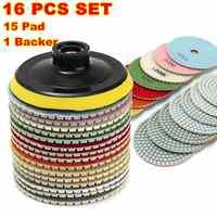 16 piezas almohadillas de pulido de diamante de 4 pulgadas 100mm húmedo/seco de piedra de granito de mármol pulido uso discos de desbastar conjunto