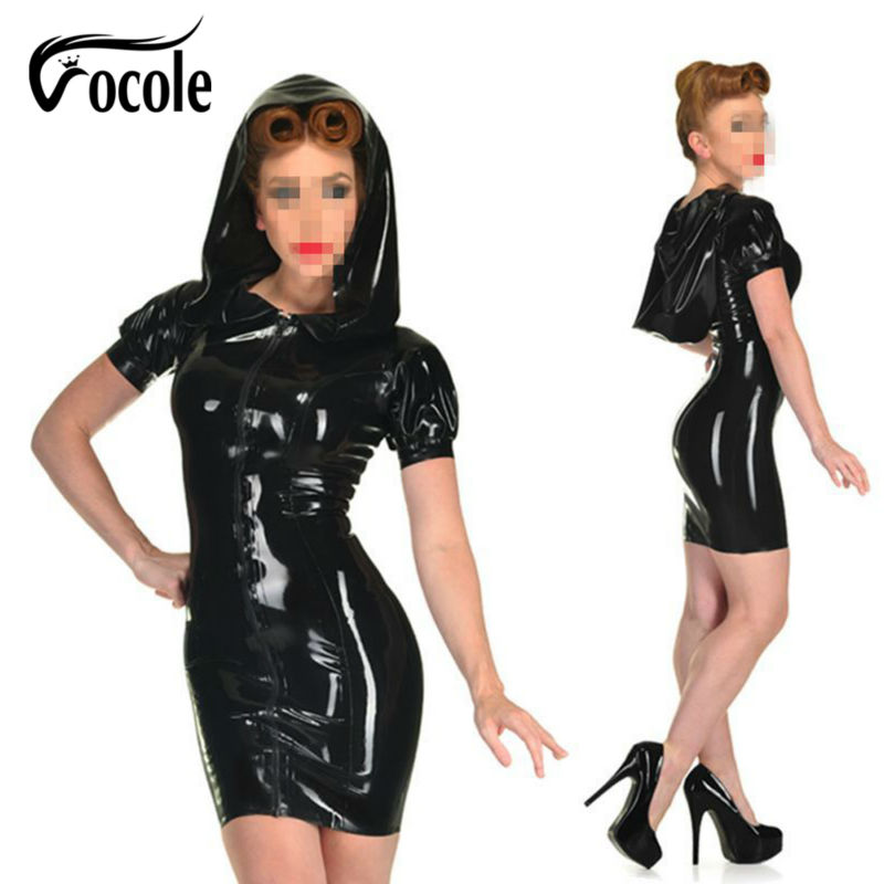 S-3XL Women Sexy Zipper Front Faux Leather PVC Dress Hooded Night Club Bodycon Clubwear Plus Size