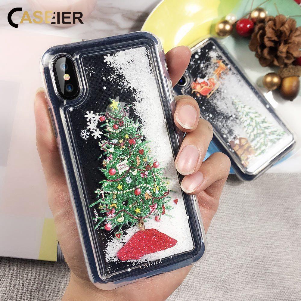Caseier linda capa de natal para iphone 7 8 6 s plus tpu macio areia movediça caso para iphone x xr xs max capa de ano novo capinhas
