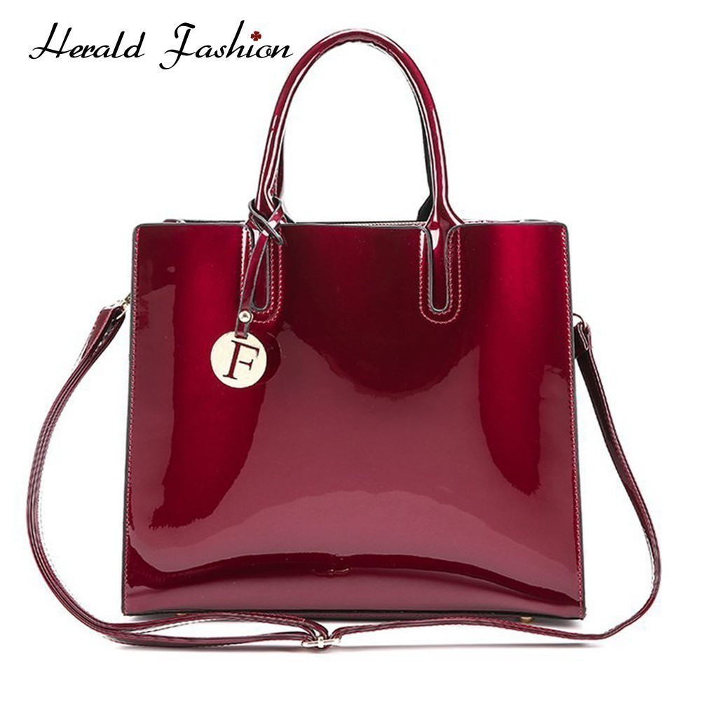 Bolsa de Couro de Patente Bolsas para Mulheres Bolsa de Ombro Herald Moda Bolsas Femininas Marca Famosa Ladies Lacado Bolsa Sac