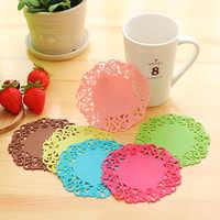 5 piezas en forma de flor, posavasos de PVC para vajilla, accesorios de cocina, posavasos, aislamiento térmico, utensilios de cocina