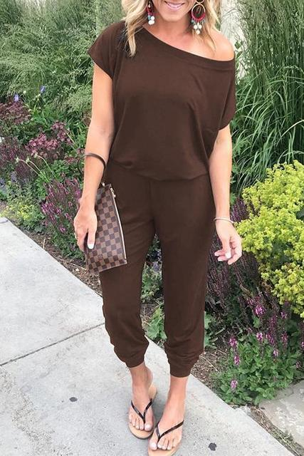 Solid Casual Sexy Off Shoulder Short Sleeve Women Suit 2019 New Arrival Women Summer Fashion Slim Elegant Long Rompers Female 3