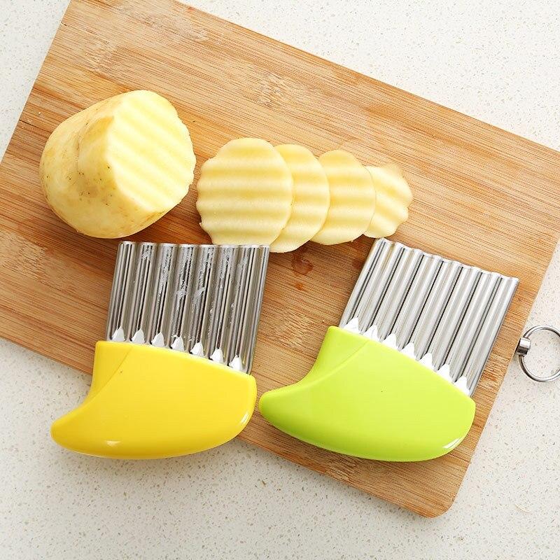 1 Pc Kartoffel Cutter Edelstahl Gemüse Wellig Eingefasst Französisch Braten Schneider Slicer Küche Gadget Obst Schäler Kochen Werkzeuge Taille Und Sehnen StäRken